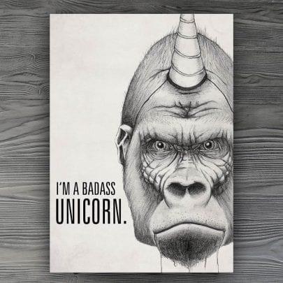 I'm a badass unicorn Postkarte